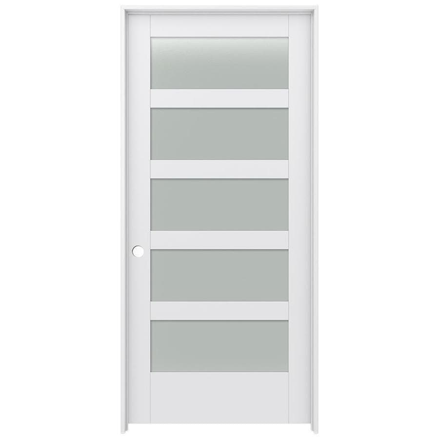 Shop jeld wen moda primed 5 panel equal frosted glass wood Modern frosted glass interior doors