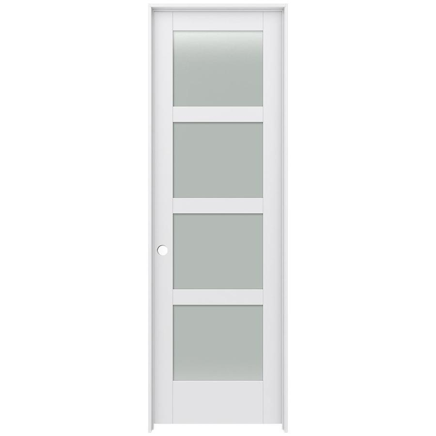 JELD-WEN MODA Primed Frosted Glass Interior Door with Hardware (Common: 28-in x 96-in; Actual: 29.562-in x 97.688-in)