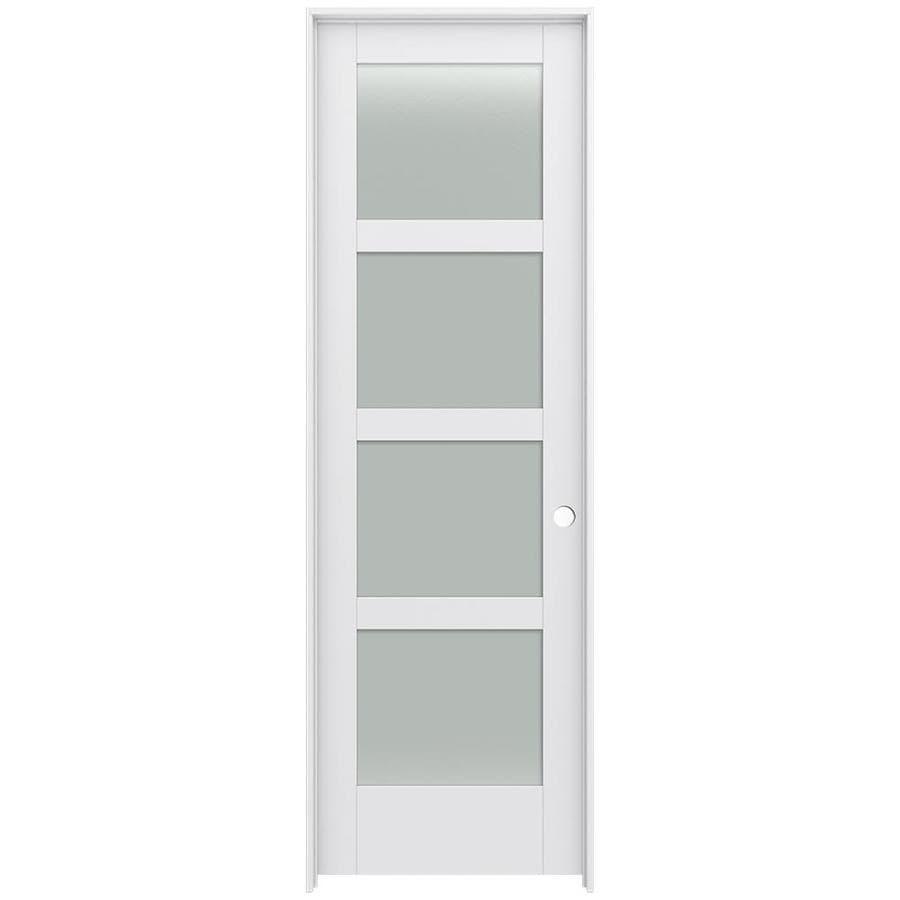JELD-WEN MODA Primed Frosted Glass Wood Pine Single Prehung Interior Door (Common: 30-in X 96-in; Actual: 31.5625-in x 97.6875-in)