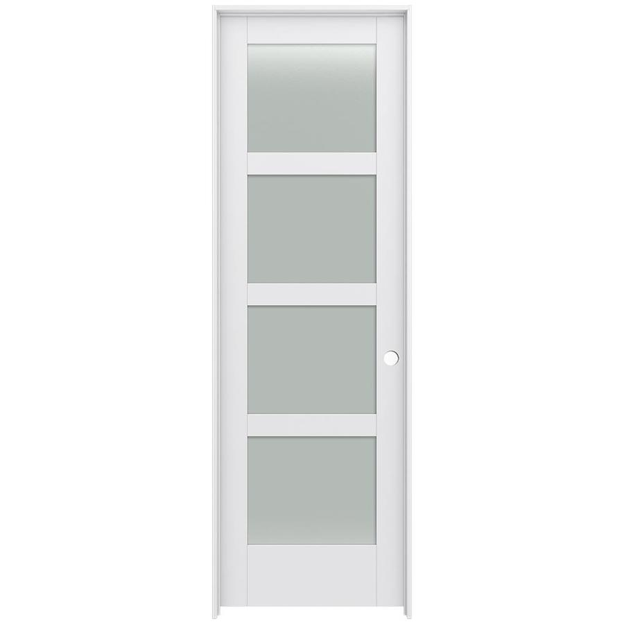 JELD-WEN MODA Primed Frosted Glass Interior Door with Hardware (Common: 32-in x 96-in; Actual: 33.562-in x 97.688-in)