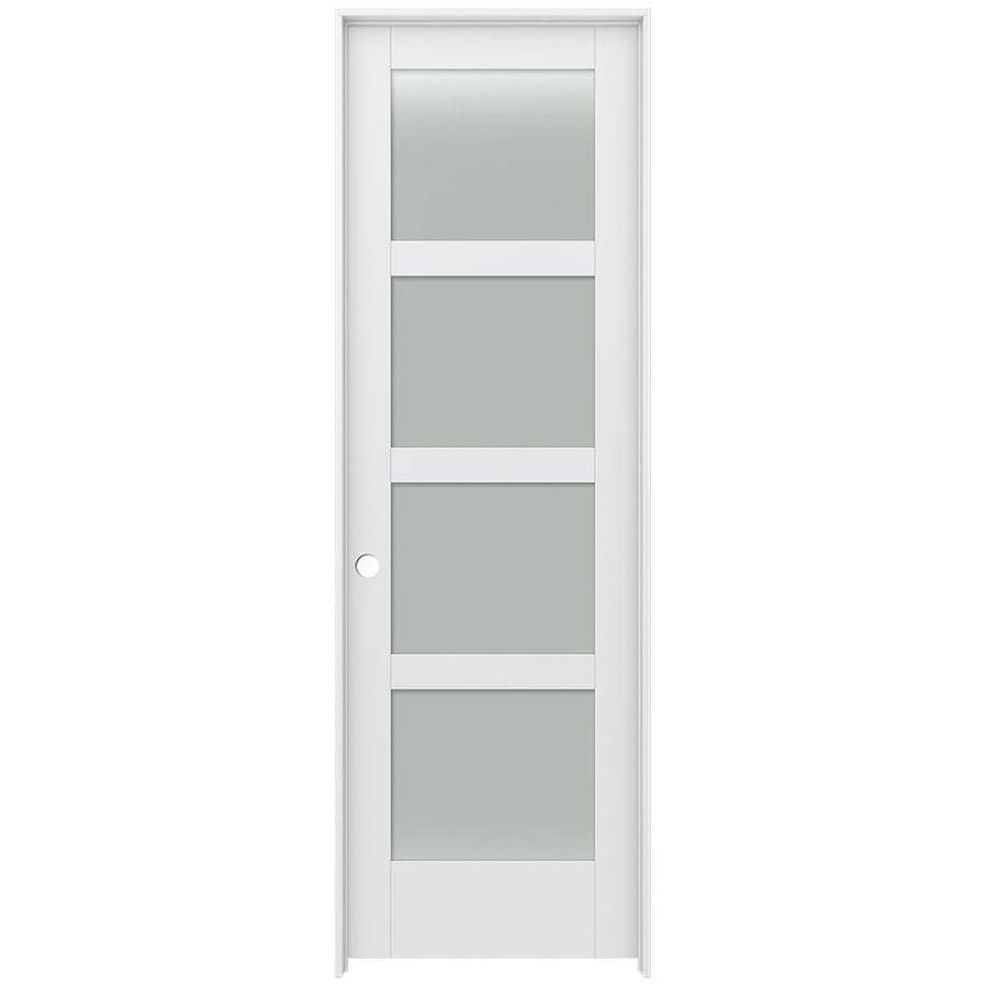 Shop jeld wen moda primed solid core frosted glass mdf for Mdf solid core interior doors