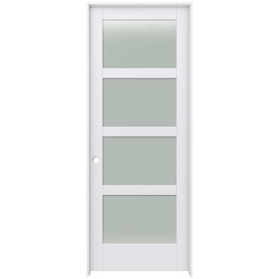 Shop Jeld Wen Moda Primed 4 Panel Square Frosted Glass Wood Pine