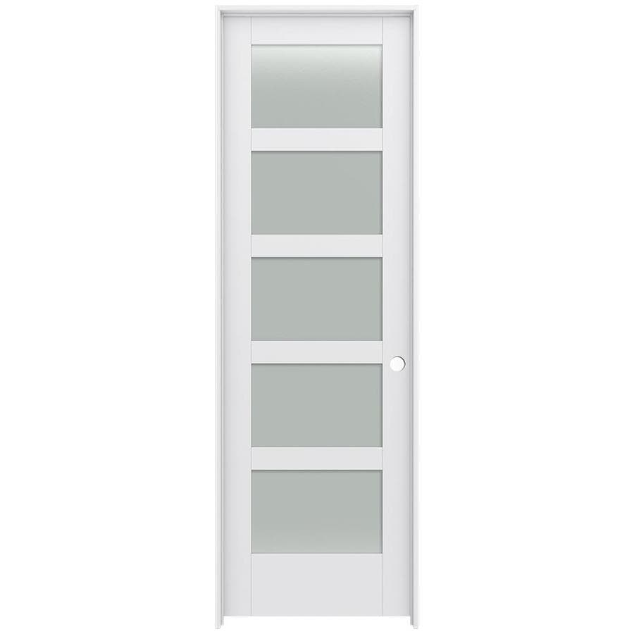 JELD-WEN MODA Primed Solid Core Frosted Glass MDF Pine Slab Interior Door (Common: 24-in x 96-in; Actual: 25.5600-in x 97.6900-in)