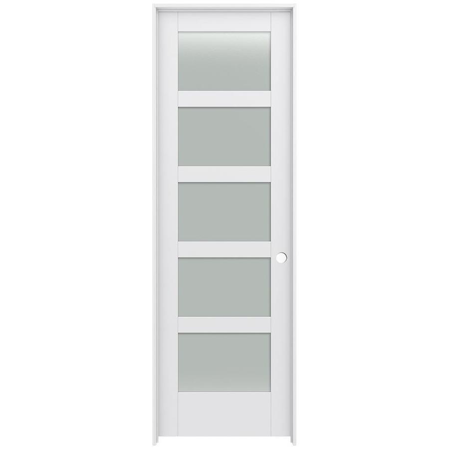 JELD-WEN MODA Frosted Glass Pine Slab Interior Door (Common: 28-in x 96-in; Actual: 29.5600-in x 97.6900-in)