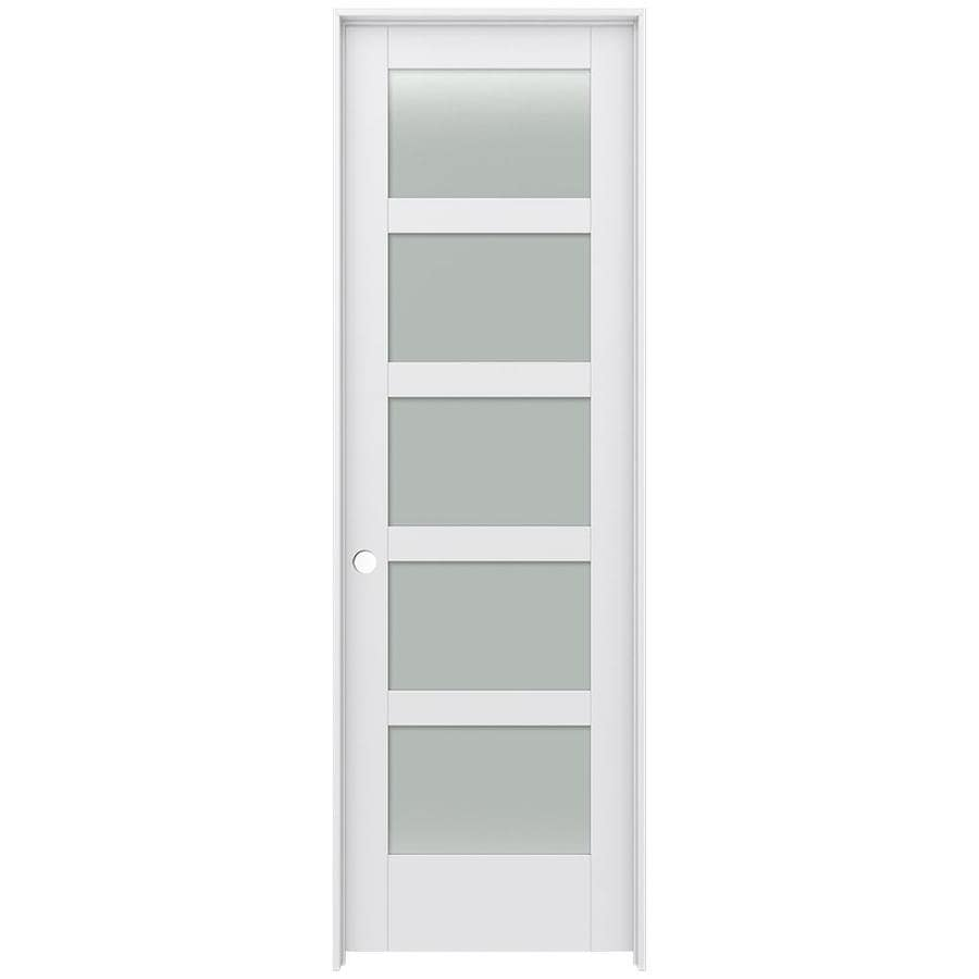 Shop Jeld Wen Moda Primed 5 Panel Equal Frosted Glass Wood Pine Single Pre Hung Door Common 32