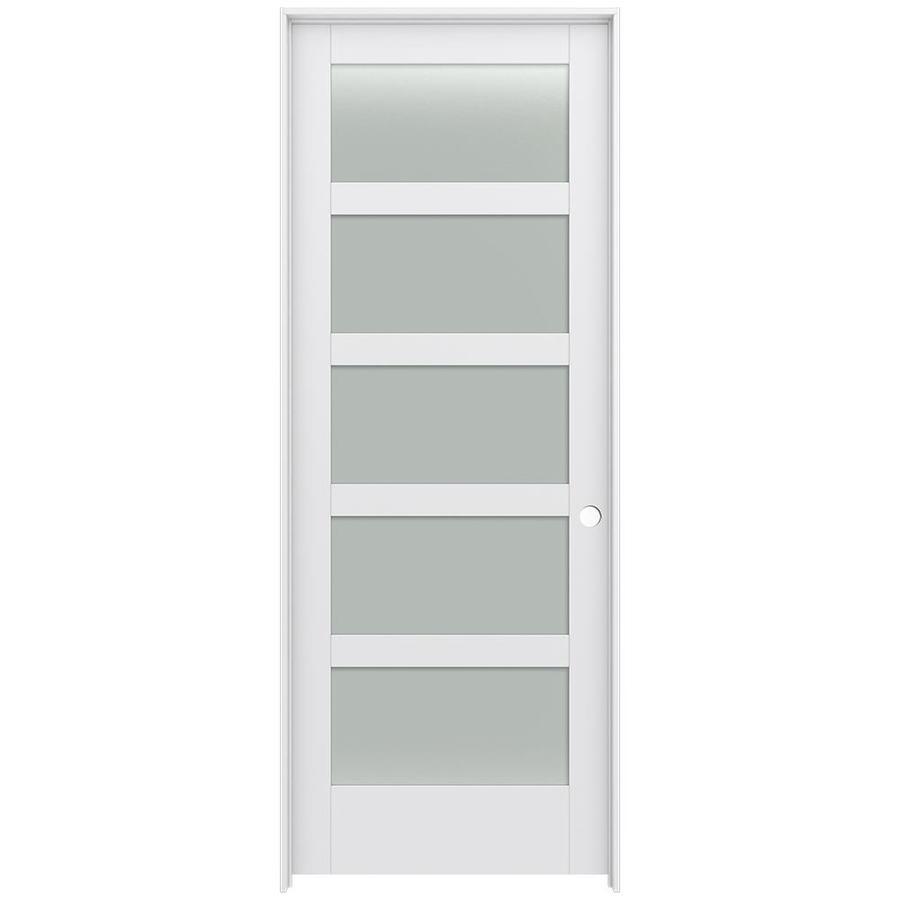 JELD-WEN Moda Prehung Solid Core 5-Lite Frosted Glass Interior Door (Common: 36-in x 96-in; Actual: 37.562-in x 97.688-in)