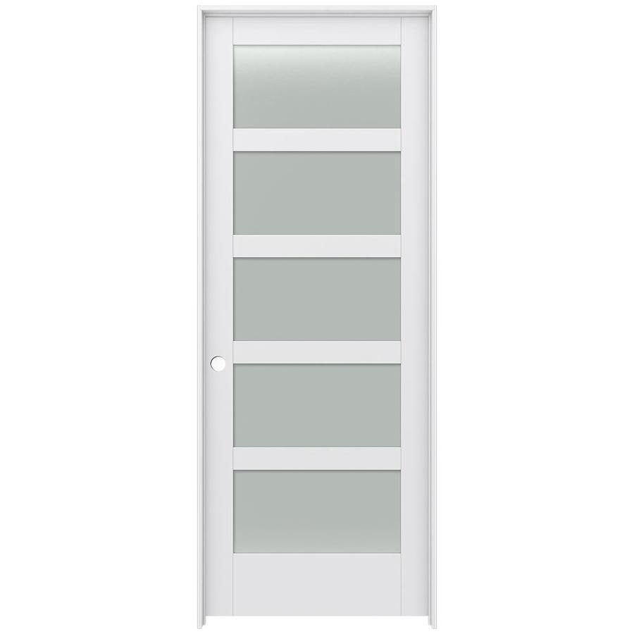 Shop Jeld Wen Moda Primed 5 Panel Equal Frosted Glass Wood Pine
