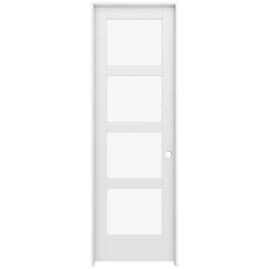 JELD-WEN Moda Prehung Solid Core 4-Lite Clear Glass Interior Door (Common: 28-in x 96-in; Actual: 29.562-in x 97.688-in)