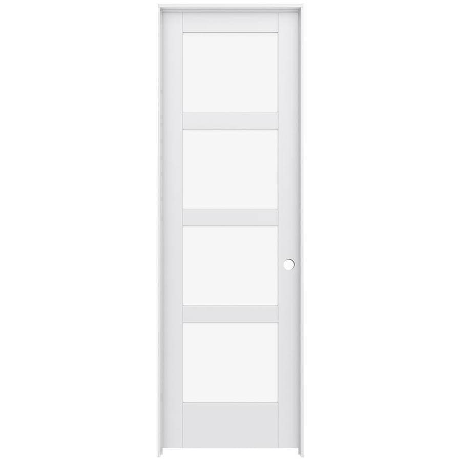 JELD-WEN MODA 4 Panel Square Clear Glass Single Prehung Interior Door (Common: 30-in x 96-in; Actual: 30-in x 96-in)