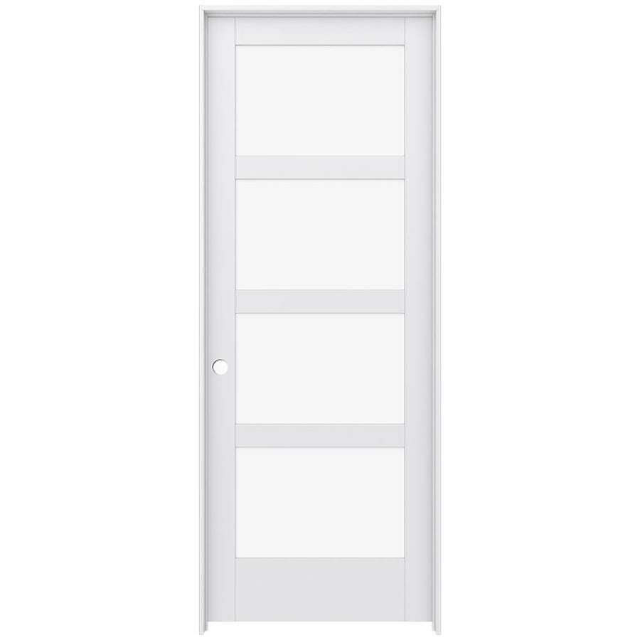 JELD-WEN MODA Primed Clear Glass Interior Door with Hardware (Common: 36-in x 96-in; Actual: 37.562-in x 97.688-in)