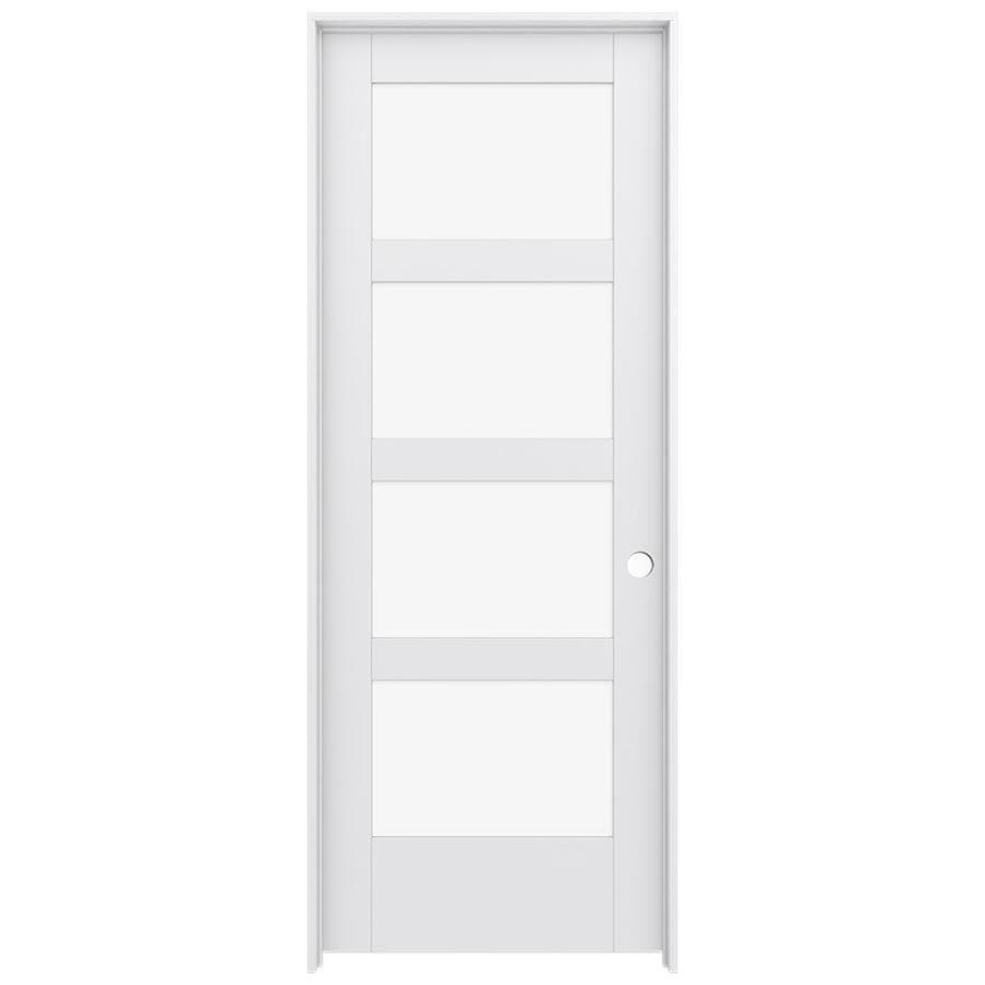 JELD-WEN MODA Primed Clear Glass Interior Door with Hardware (Common: 28-in x 80-in; Actual: 29.562-in x 81.688-in)