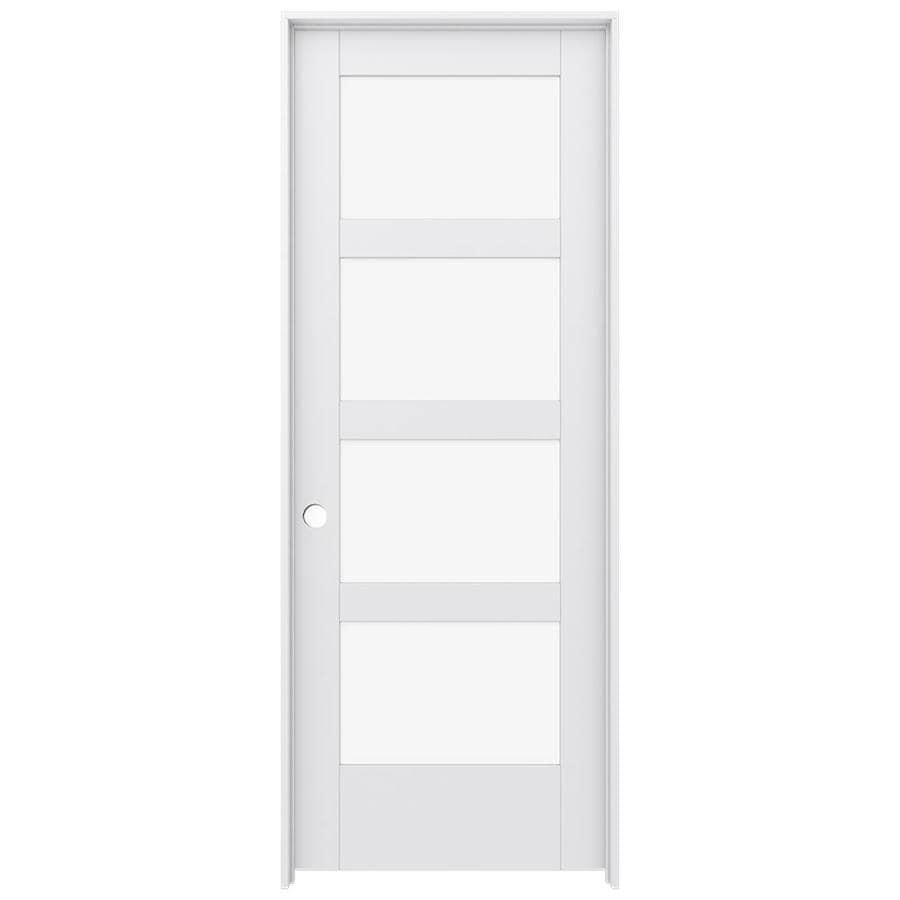 JELD-WEN MODA Primed Solid Core Clear Glass MDF Pine Slab Interior Door (Common: 32-in x 80-in; Actual: 33.5600-in x 81.6900-in)