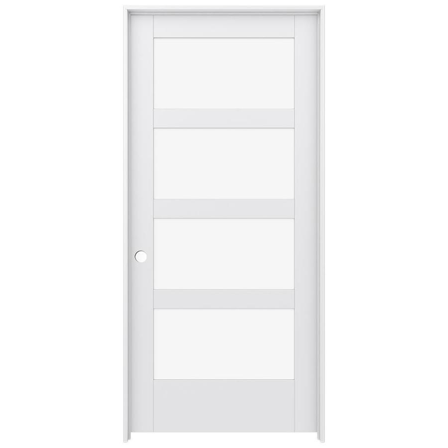 JELD-WEN Moda Prehung Solid Core 4-Lite Clear Glass Interior Door (Common: 36-in x 80-in; Actual: 37.562-in x 81.688-in)