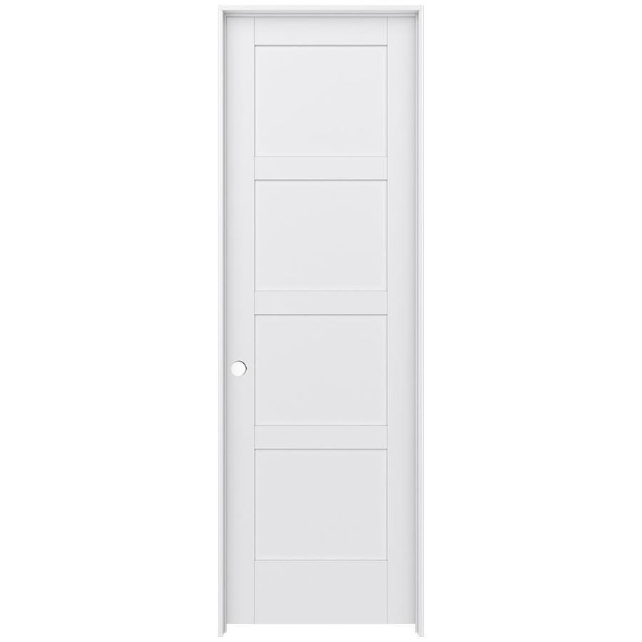 JELD-WEN Moda Prehung Solid Core 4 Panel Square Interior Door (Common: 30-in x 96-in; Actual: 31.562-in x 97.688-in)