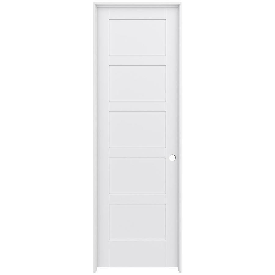JELD-WEN MODA 5-panel Equal Pine Single Prehung Interior Door (Common: 32-in X 96-in; Actual: 33.562-in x 97.688-in)