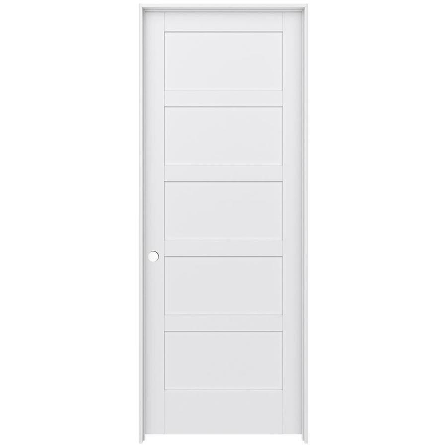 JELD-WEN Moda Prehung Solid Core 5-Panel Equal Interior Door (Common: 36-in x 96-in; Actual: 37.562-in x 97.688-in)