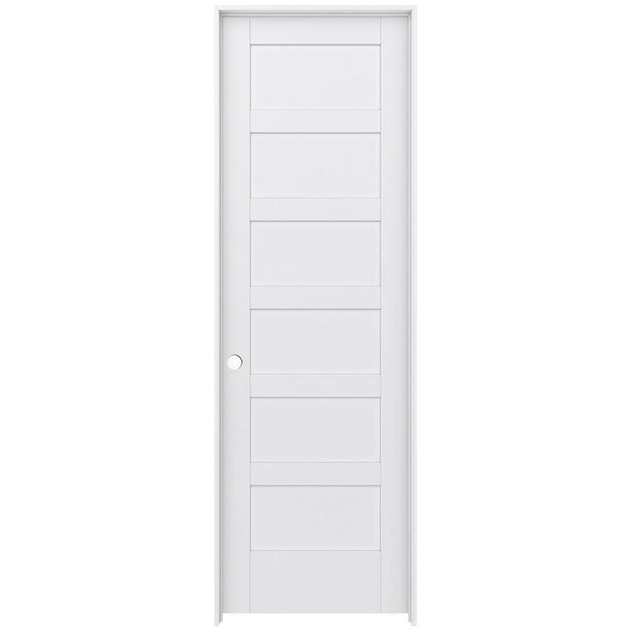 JELD-WEN MODA 6-panel Pine Single Prehung Interior Door (Common: 32-in X 96-in; Actual: 33.562-in x 97.688-in)