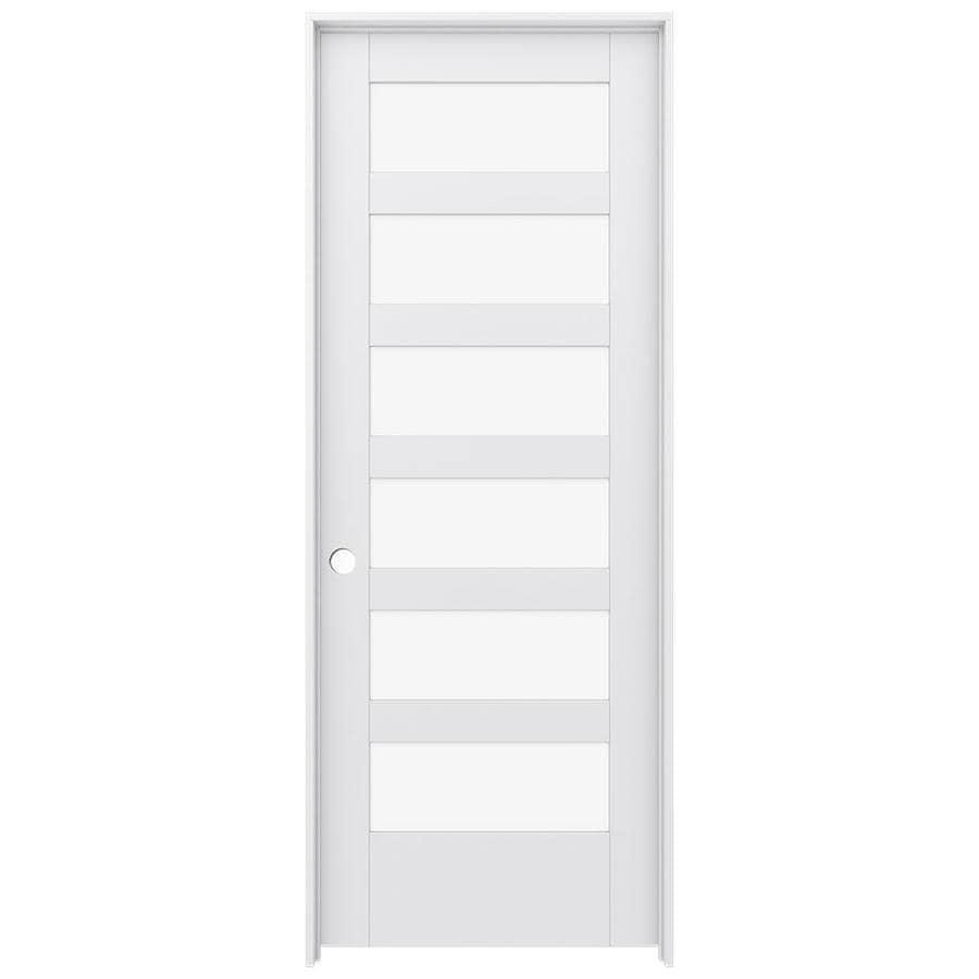 JELD-WEN Moda Prehung Solid Core 6-Lite Clear Glass Interior Door (Common: 32-in x 80-in; Actual: 33.562-in x 81.688-in)