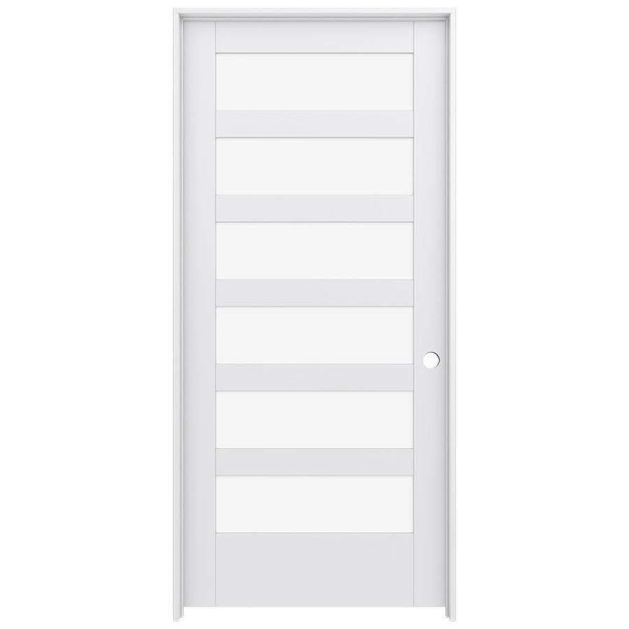JELD-WEN MODA Primed Clear Glass Interior Door with Hardware (Common: 36-in x 80-in; Actual: 37.562-in x 81.688-in)
