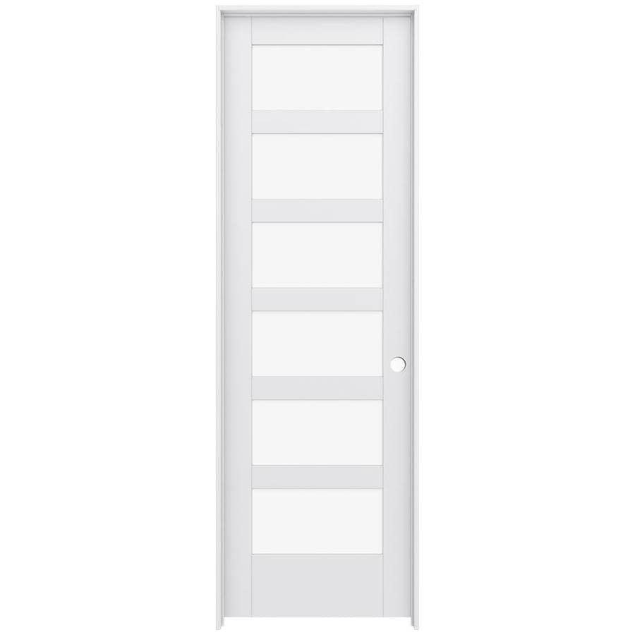 JELD-WEN MODA Primed Solid Core Clear Glass MDF Pine Slab Interior Door (Common: 30-in x 96-in; Actual: 31.5600-in x 97.6900-in)