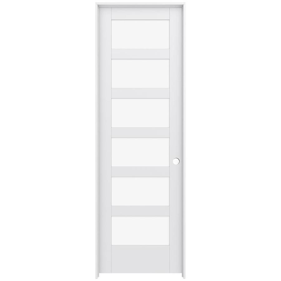 JELD-WEN MODA Primed Clear Glass Interior Door with Hardware (Common: 32-in x 96-in; Actual: 33.562-in x 97.688-in)
