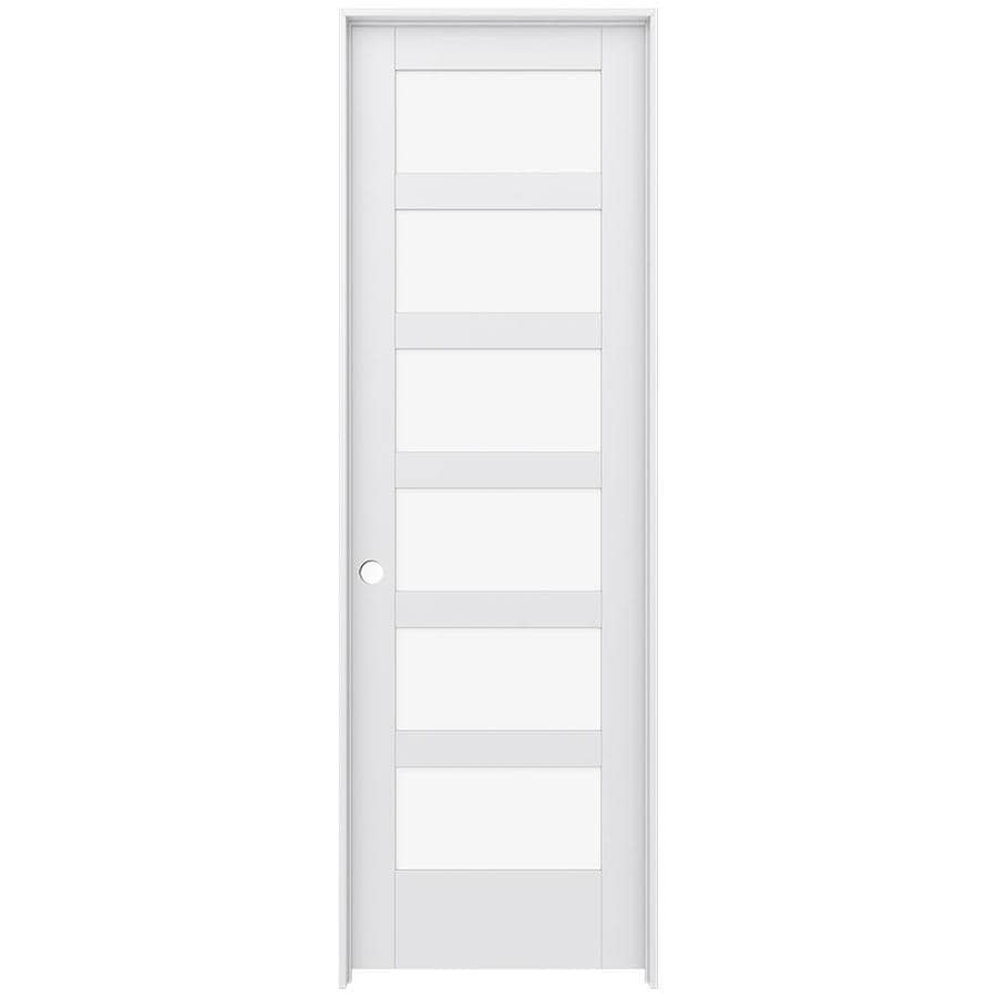 JELD-WEN MODA Primed Clear Glass Interior Door with Hardware (Common: 32-in x 96-in; Actual: 33.562-in x 97.688-in)