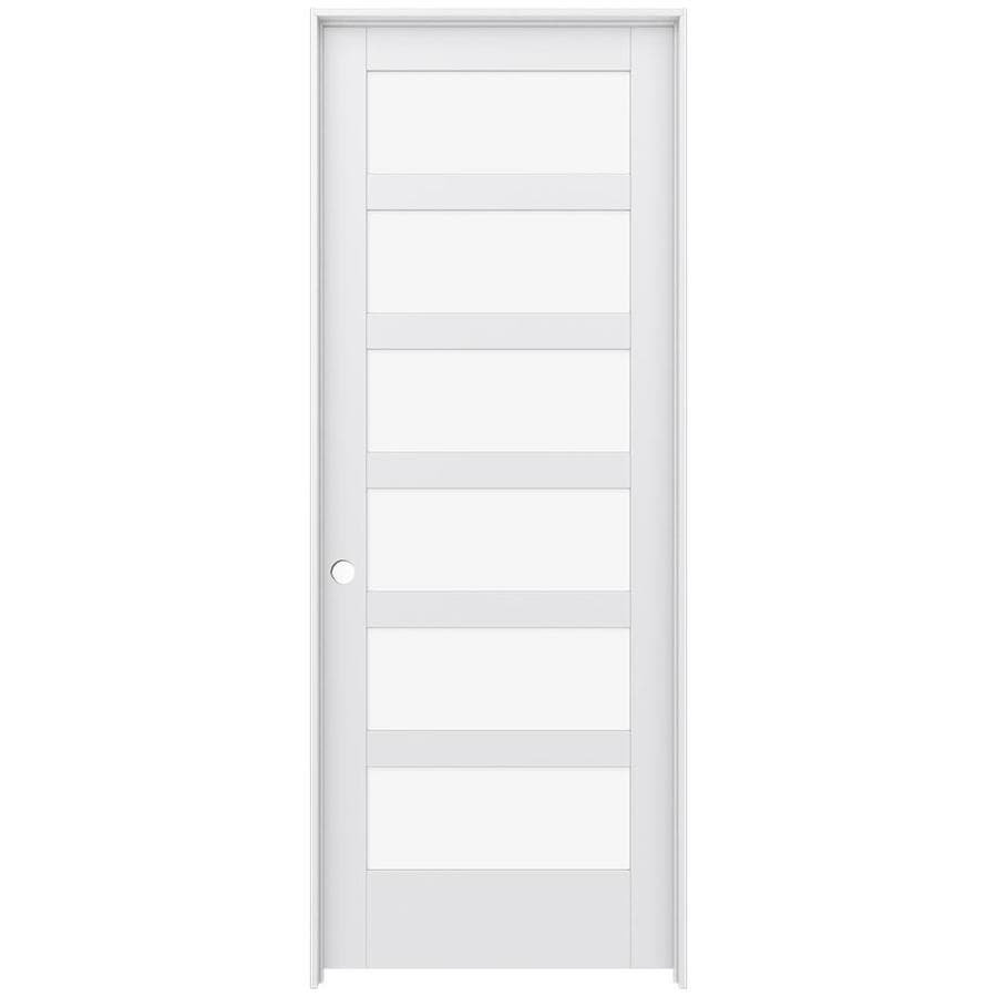 JELD-WEN MODA Primed Clear Glass Interior Door with Hardware (Common: 36-in x 96-in; Actual: 37.562-in x 97.688-in)