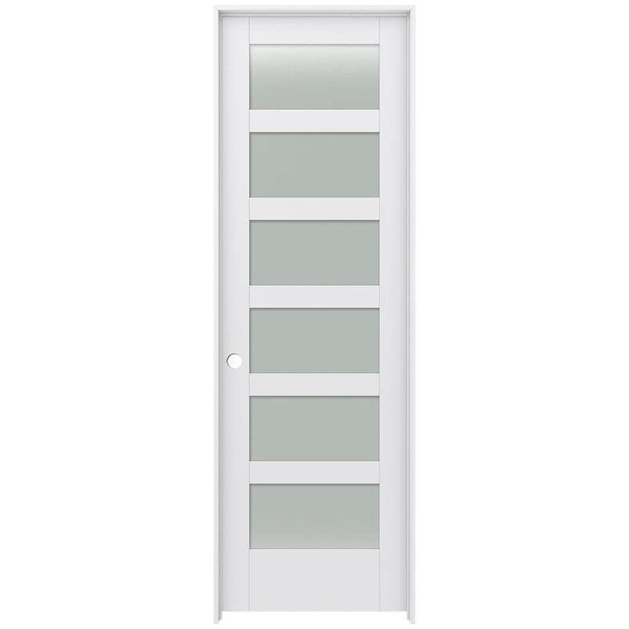 JELD-WEN MODA Primed Frosted Glass Wood Pine Single Prehung Interior Door (Common: 32-in X 96-in; Actual: 33.5625-in x 97.6875-in)