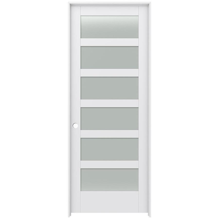 JELD-WEN Moda Prehung Solid Core 6-Lite Frosted Glass Interior Door (Common: 36-in x 96-in; Actual: 37.562-in x 97.688-in)