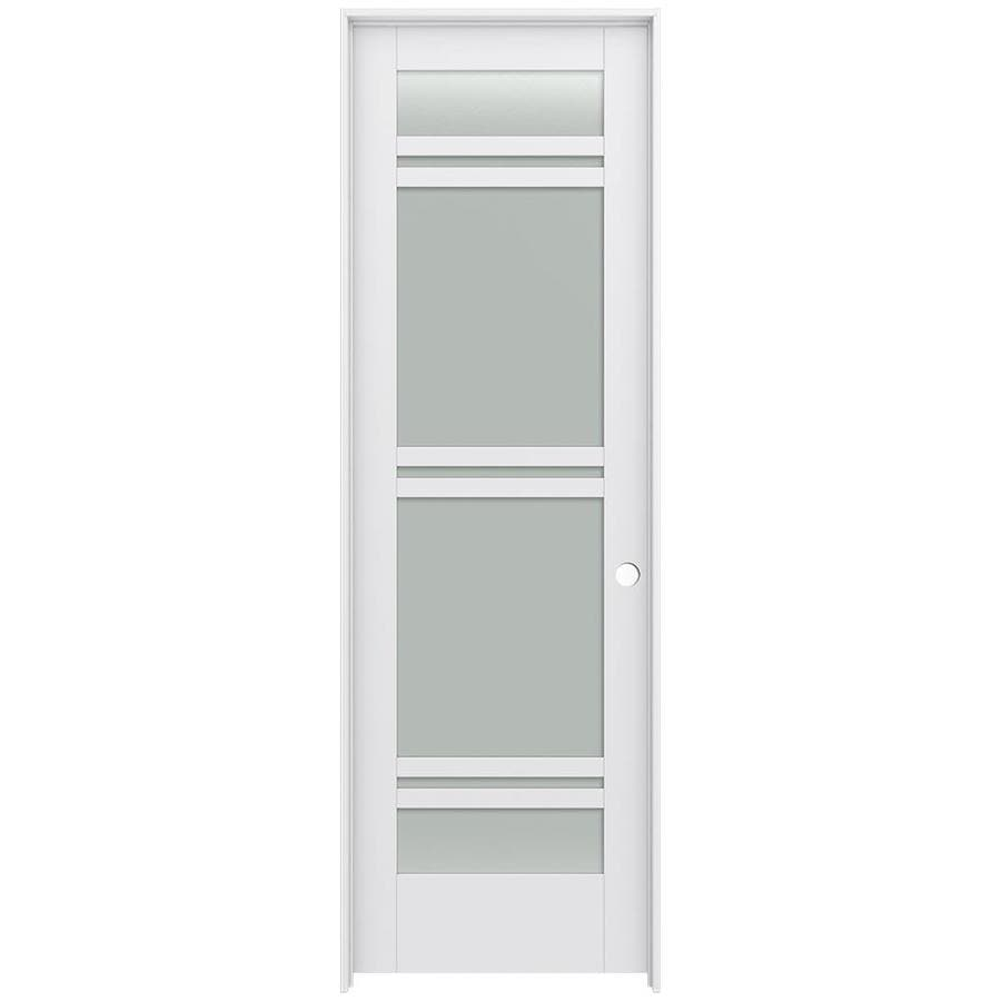 JELD-WEN Moda Prehung Solid Core 7-Lite Frosted Glass Interior Door (Common: 24-in x 96-in; Actual: 25.562-in x 97.688-in)