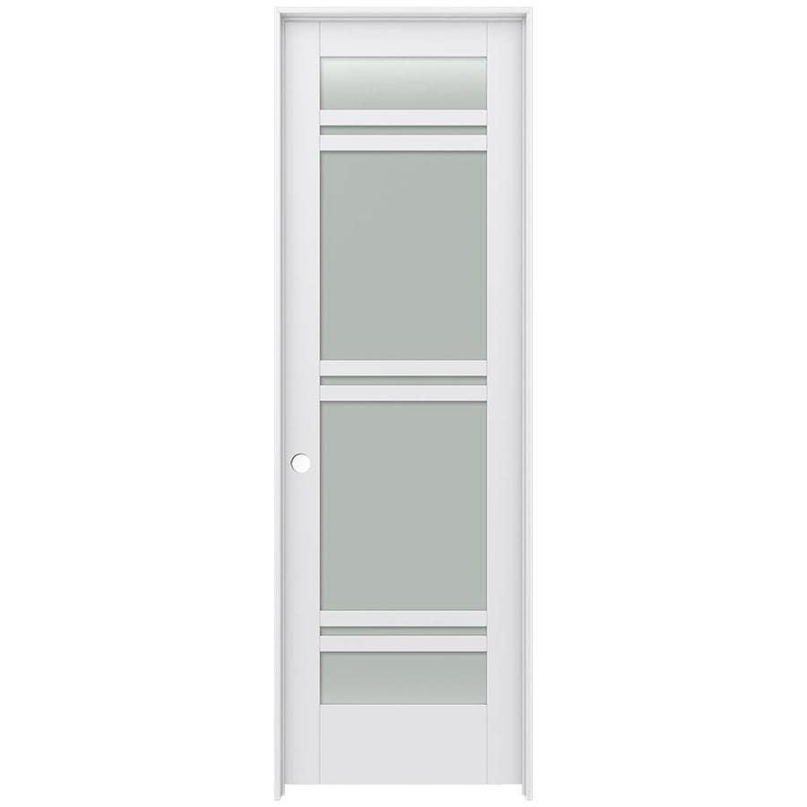 JELD-WEN MODA Primed Frosted Glass Interior Door with Hardware (Common: 28-in x 96-in; Actual: 29.562-in x 97.688-in)