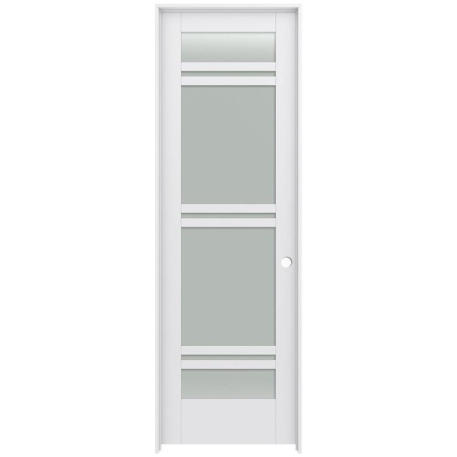 JELD-WEN MODA Primed Frosted Glass Interior Door with Hardware (Common: 30-in x 96-in; Actual: 31.562-in x 97.688-in)