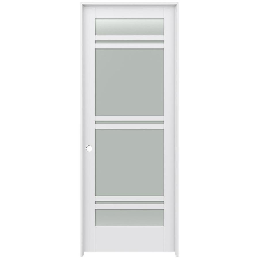 JELD-WEN Moda Prehung Solid Core 7-Lite Frosted Glass Interior Door (Common: 36-in x 96-in; Actual: 37.562-in x 97.688-in)