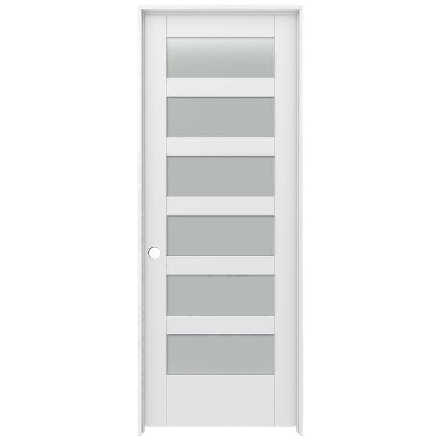 JELD-WEN Moda Prehung Solid Core 6-Lite Frosted Glass Interior Door (Common: 32-in x 80-in; Actual: 33.562-in x 81.688-in)