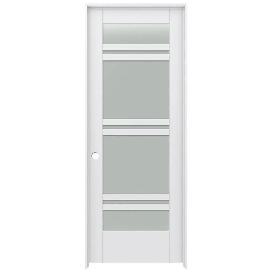 Shop Jeld Wen Moda Primed 7 Panel Frosted Glass Wood Pine Single Pre Hung Door Common 28 In X