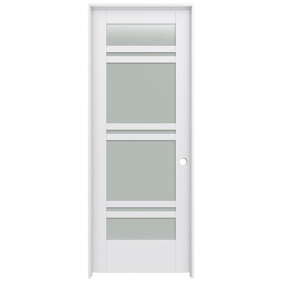 JELD-WEN MODA 7-lite Frosted Glass Pine Single Prehung Interior Door (Common: 32-in X 80-in; Actual: 33.562-in x 81.688-in)