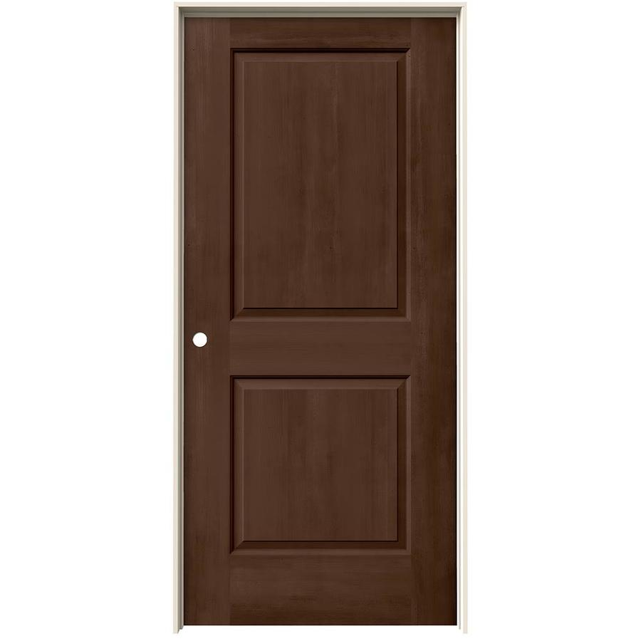 JELD-WEN Woodview Milk Chocolate 2-Panel Square Single Prehung Interior Door (Common: 36-in x 80-in; Actual: 37.562-in x 81.688-in)