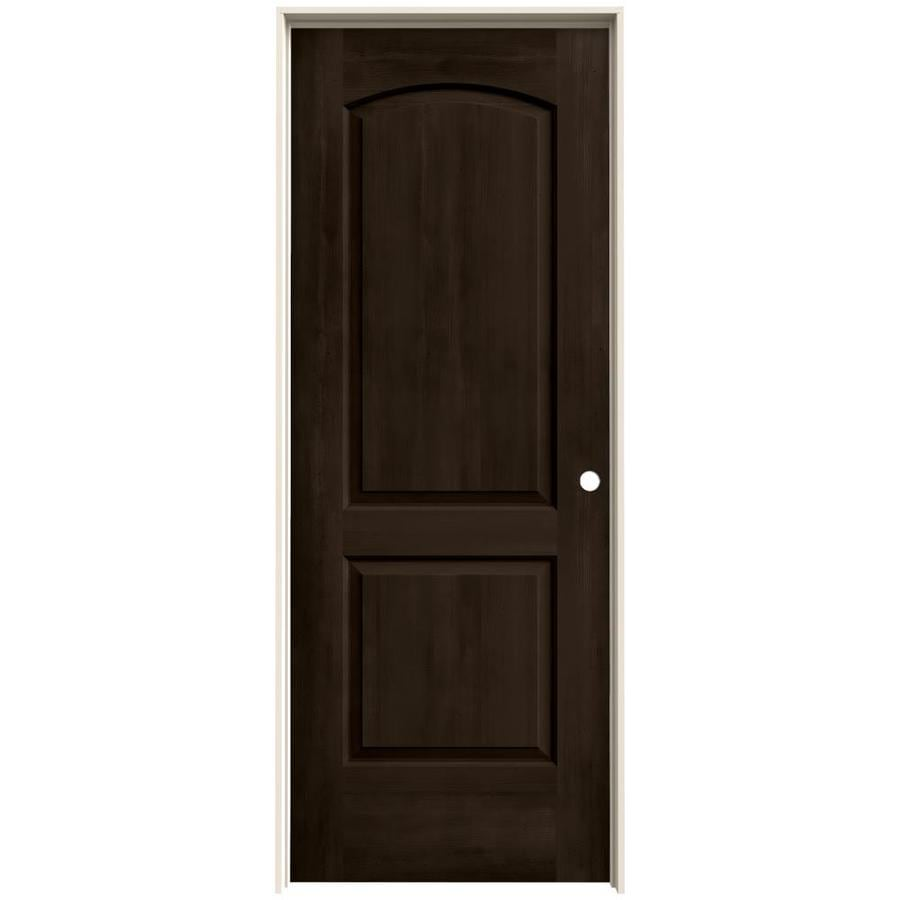 JELD-WEN Woodview Espresso 2-Panel Round Top Single Prehung Interior Door (Common: 24-in x 80-in; Actual: 25.562-in x 81.688-in)
