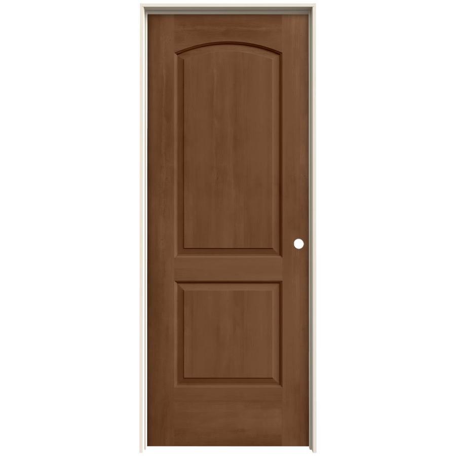 JELD-WEN Woodview Hazelnut 2-Panel Round Top Single Prehung Interior Door (Common: 32-in x 80-in; Actual: 33.562-in x 81.688-in)