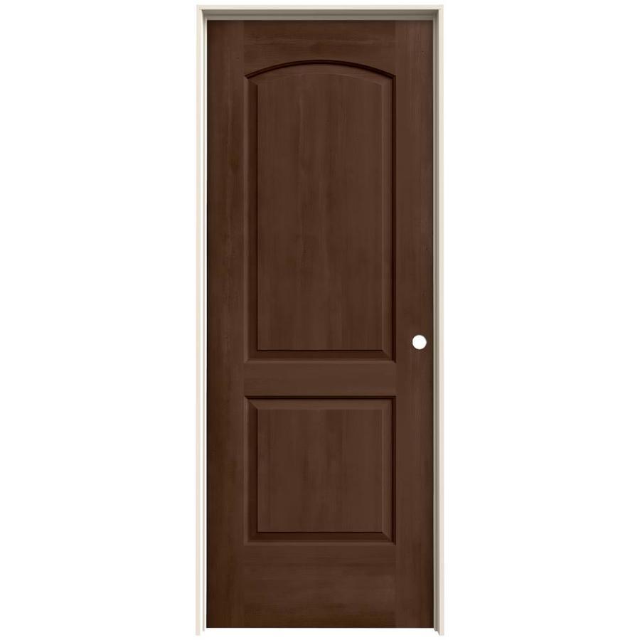 JELD-WEN Woodview Milk Chocolate 2-Panel Round Top Single Prehung Interior Door (Common: 32-in x 80-in; Actual: 33.562-in x 81.688-in)