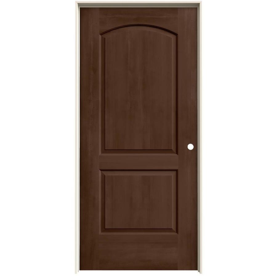 JELD-WEN Woodview Milk Chocolate 2-Panel Round Top Single Prehung Interior Door (Common: 36-in x 80-in; Actual: 37.562-in x 81.688-in)