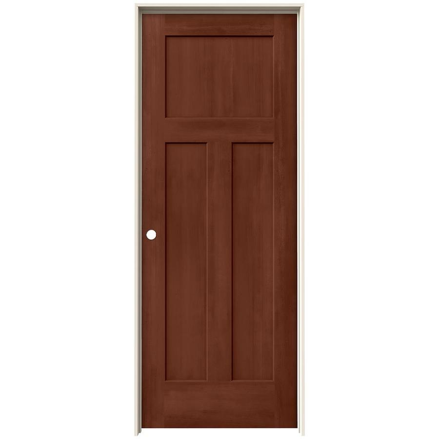 JELD-WEN Woodview Amaretto 3-Panel Craftsman Single Prehung Interior Door (Common: 24-in x 80-in; Actual: 25.562-in x 81.688-in)