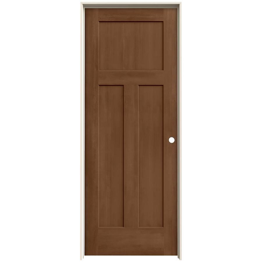 JELD-WEN Woodview Hazelnut 3-Panel Craftsman Single Prehung Interior Door (Common: 24-in x 80-in; Actual: 25.562-in x 81.688-in)