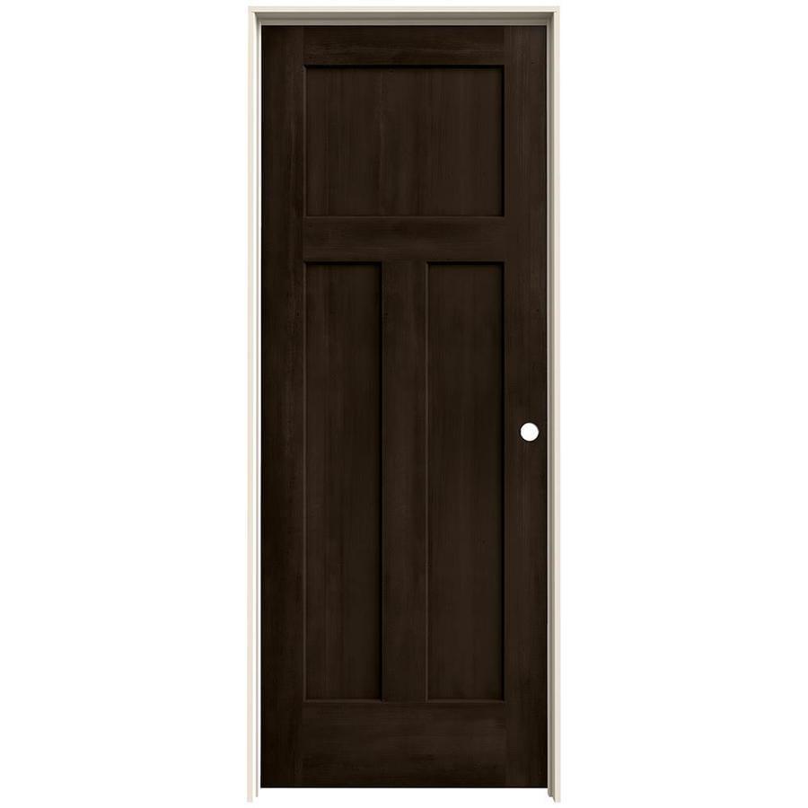 JELD-WEN Woodview Espresso 3-Panel Craftsman Single Prehung Interior Door (Common: 32-in x 80-in; Actual: 33.562-in x 81.688-in)
