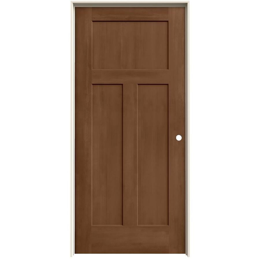 Jeld Wen Craftsman Hazelnut 3 Panel Solid Core Molded Composite Door Common 36 In X 80 In