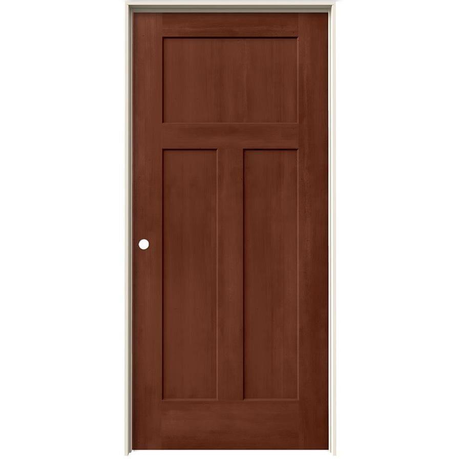 JELD-WEN Woodview Amaretto 3-Panel Craftsman Single Prehung Interior Door (Common: 36-in x 80-in; Actual: 37.562-in x 81.688-in)