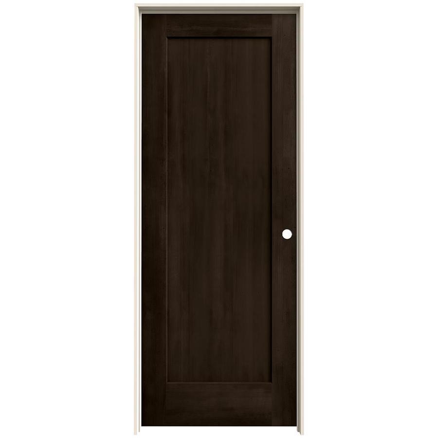 JELD-WEN Woodview Espresso 1-Panel Square Single Prehung Interior Door (Common: 30-in x 80-in; Actual: 31.562-in x 81.688-in)