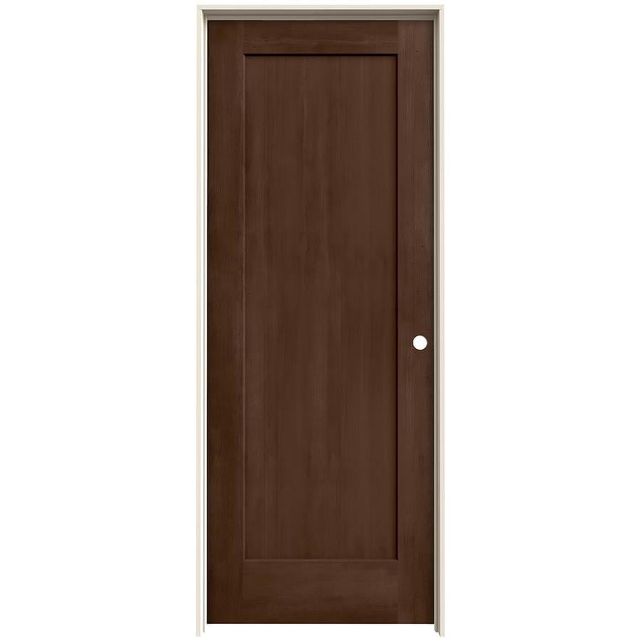 JELD-WEN Woodview Milk Chocolate 1-Panel Single Prehung Interior Door (Common: 32-in x 80-in; Actual: 33.562-in x 81.688-in)