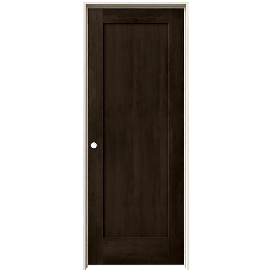 JELD-WEN View Espresso Solid Core Molded Composite Single Prehung Interior Door (Common: 32-in x 80-in; Actual: 33.562-in x 81.688-in)