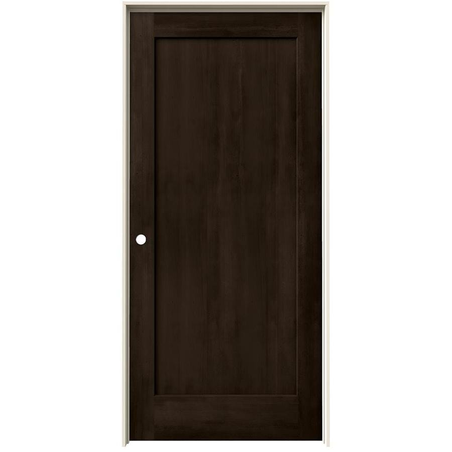 JELD-WEN Woodview Espresso 1-Panel Single Prehung Interior Door (Common: 36-in x 80-in; Actual: 37.562-in x 81.688-in)